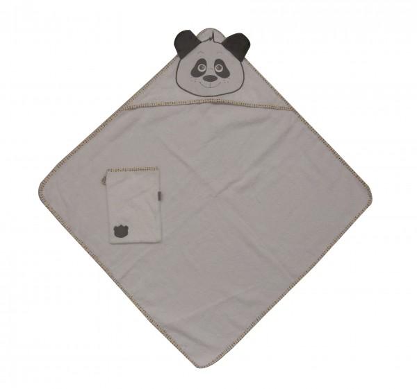 """Kapuzenbadetuch mit Waschlappen """"Panda"""""""