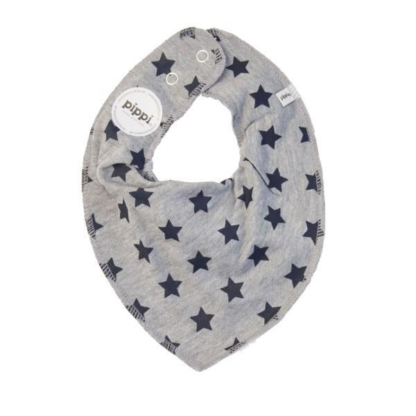 Dreieckstuch Sterne, grau meliert/navy