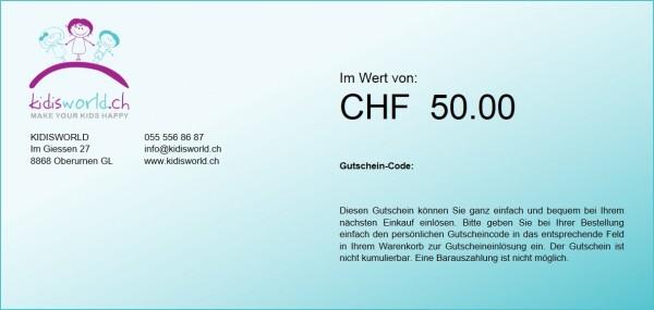 Geschenk-Gutschein, Wert CHF 50
