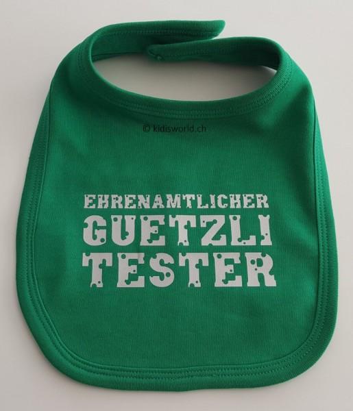"""Klettlatz bedruckt mit """"Ehrenamtlicher Guetzli Tester"""""""