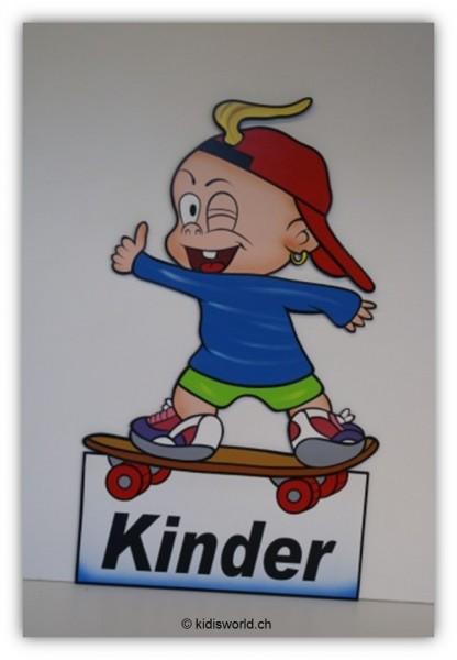 "Strassentafel ""Kinder"" Bube auf Rollbrett"