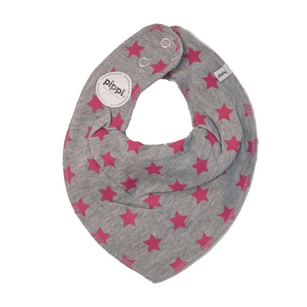 Dreieckstuch Sterne, grau meliert/pink
